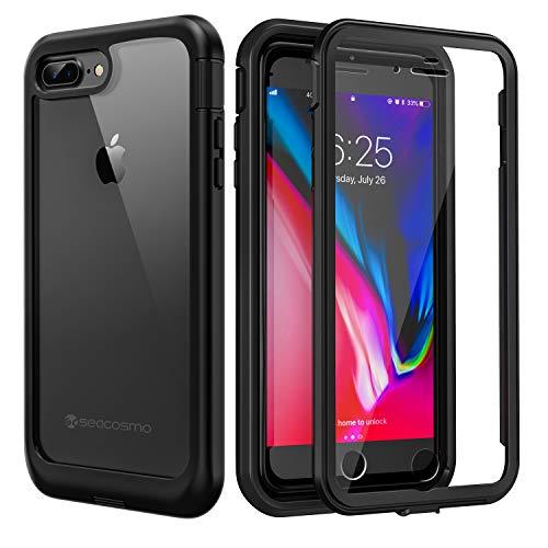 seacosmo iPhone 7 Plus Hülle, iPhone 8 Plus Hülle, Stoßfest Handyhülle iPhone 7 Plus 360 Grad Rugged schutzhülle mit eingebautem Bildschirmschutz für iPhone 8 Plus, Schwarz