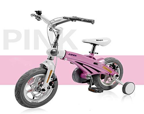 HFYAK Bicicletas Infantiles 14 Pulgadas para Chicas Edad 3-7 AñOs con Ruedas Entrenamiento Freno Asa...