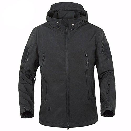 Belloo Herren Wasserdichte Jacke mit Kapuze Taktischer Mantel für Camping, Wandern, Schiessen und Jagd,Schwarz,3XL