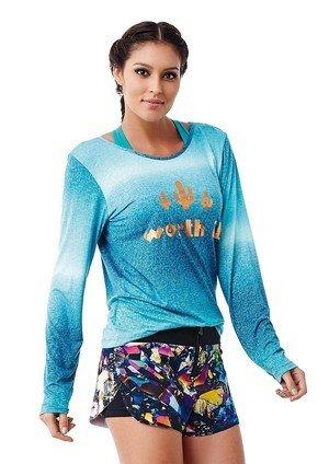 T-Shirt Manches Longues Worth it Bleu - Caju Brasil Bleu