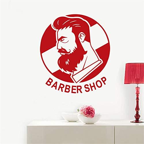 zlhcich Mann Friseur Aufkleber Name Chop Brot Aufkleber Haarschnitt Poster Vinyl Wandkunst Aufkleber Decor Windows Dekoration Wandbild103 * 116 cm
