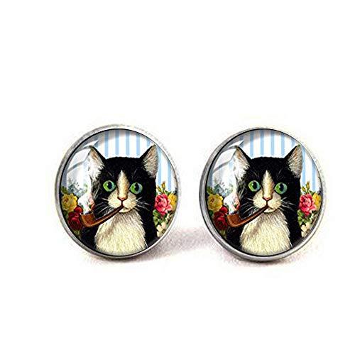 Ohrringe im Retro-Stil, handgefertigt, Glaskuppelform, Pfeife rauchende Katze