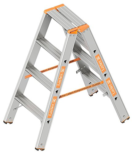 Layher 1043004 Stufenstehleiter Topic 4 Aluminiumleiter 2x4 Stufen 80 mm breit, beidseitig begehbar, klappbar, Länge 1.00 m