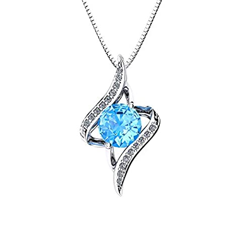 Oneck Collier femme en argent 925, Pendentif de flamme, Oxyde de zirconium bleu et blanc, Cadeau pour fête, anniversaire, mariage,