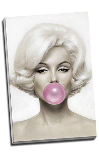 MARILYN MONROE PINK Bubble Gum Wall Art Print auf Leinwand Bild Kunstdruck auf Leinwand groß A176,2x 50,8cm (76.2cm x 50.8cm) (Pink Bubble Gum Baumwolle)