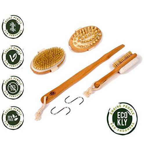 Cepillo corporal exfoliante natural con cerdas naturales, set de 3 piezas para espalda, masajeador anticelulítico, baño, ducha y cepillo para pies con piedra pómez para eliminar durezas.