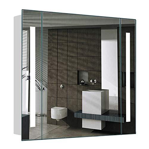 Warmiehomy Badezimmerschrank mit beleuchtetem Spiegel für Badezimmer, Badezimmerspiegel, mit Beleuchtung, Schminkrasur, Antifog, Stecker für Rasierer, 640 x 600 x 130 mm -