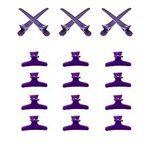 Superbe Set Stylisme Coiffure Economie & Qualité Avec 12 Pinces Machoires Type Papillon Violettes & 6 Longues Pinces / Clips Crocodiles Plates à Coiffer en Section Violettes Par VAGA