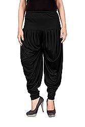 Navyataa Womens Lycra Dhoti Pants For Women Patiyala Dhoti Lycra Salwar Free Size (Black)