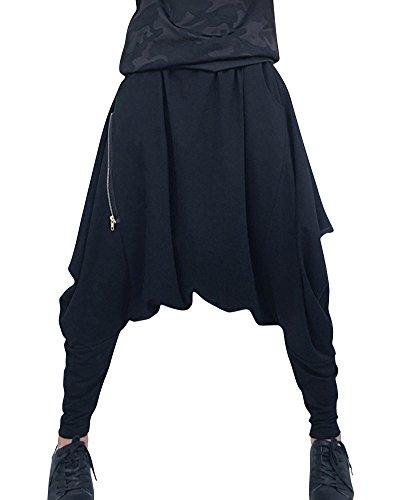 Unisex Baggy Casual Pantaloni Hip Hop Pantaloni Harem Pantaloni Nero Nero