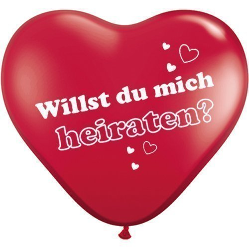 partydiscount24 Herzballons Willst du mich heiraten? - Rot - Ø 25 cm 10 Stück