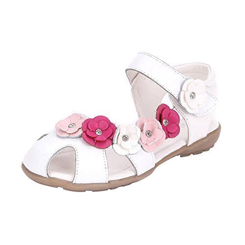 Juleya Mädchen Geschlossene Sandalen mit Blume,Leder Lauflernschuhe beleuchtet Prinzessin Schuhe Halbsandalen Klettverschluss,Gr.21-37 - Leder Blume Sandalen