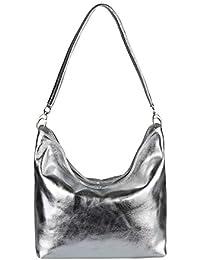OBC Made in Italy Damen Echt Leder Tasche Umhängetasche Schultertasche Messenger Clutch Ipad/Tablettasche bis ca. 10 Zoll City Bag ca. 36x24x14 cm (BxHxT)
