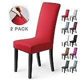 Housse de chaise Décor 6 pièces housse de chaise Stretch-Housse Couverture de chaise de matériau spandex élastique pour un ajustement universel, très facile à nettoyer et durable (Paquet de 6, Noir)