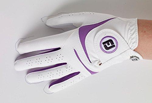 Footjoy Weathersof Handschuh Damen Weiß/Lila Linke Hand/M