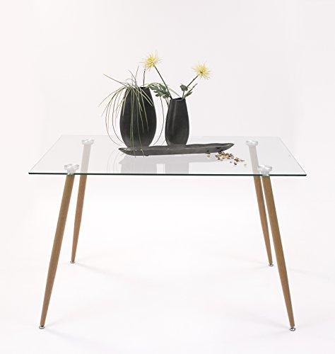 Mesa de comedor de 120x80 Cairo con tapa de cristal y patas de metal s