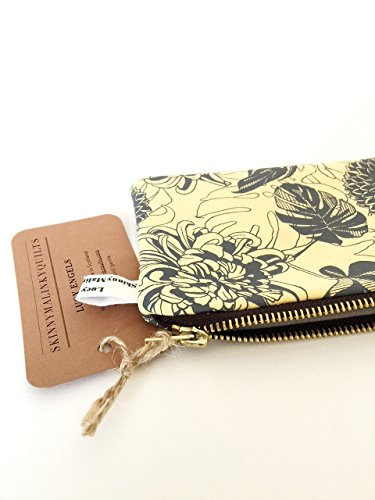 Yellow Change Purse, Monstera Floral Coin purse with Brass Zip