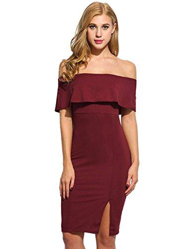 ZEARO Damen Lotusblatt Kleid Off Schulter Kragen Hals Schlank Paket Hüfte Abendkleider mit Spliss Weinrot