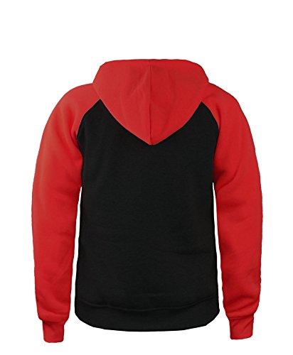 LotMart UNISEX Sweat-Jacke Kontrast Ärmel Fleece Herren Damen Kapuzenpullover Schwarz/Rot