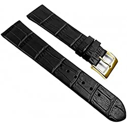Eulit Rainbow Replacement Band Watch Band Leather Kalf Strap black leather 390_10G, Abutting:14 mm