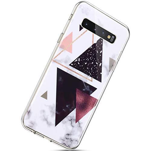 Herbests Kompatibel mit Samsung Galaxy S10 Hülle Handyhülle Marmor Muster Weich Silikon TPU Tasche Stein Marble Case Schutzhülle Transparent Clear TPU Bumper Handytasche,Schwarz Weiß Rosa