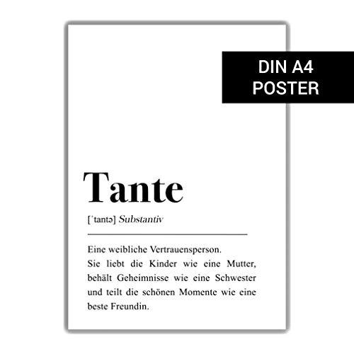 Tante Definition: Poster DIN A4 Schwester Geschenk, Einrichtung Skandinavisch, Schwarz Weißer Stil, Plakat mit Spruch, Nichte/Neffe