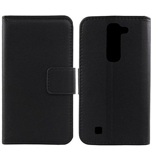Gukas Design Echt Leder Tasche Für LG Volt 2 C90 / G4C H525N G4 mini / Magna LS751 H502F H500F H520N Hülle Handy Flip Brieftasche mit Kartenfächer Schutz Protektiv Genuine Premium Case Cover Etui Skin (Schwarz)