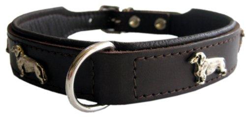 Robustes Lederhalsband mit Dackel Motiven - 37 x 2,6cm - braun Top Qualität