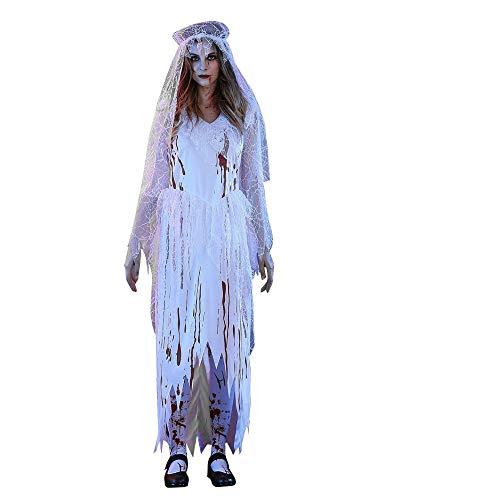 Kostüm Weiß Erwachsenen Chic Mädchen Material Für - Halloween Weiblicher Zombie Brautball Phantasie Bar Party Kleidung Sexy Weiße Leiche Braut Halloween Cosplay Party Kostüm Yebutt Casual Chic