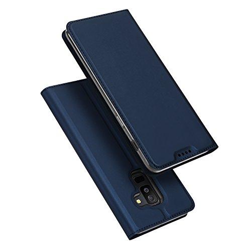 DUX DUCIS Galaxy A6 Plus 2018 Hülle,Flip Folio Handyhülle [Standfunktion] [1 Kartenfach] [Magnet] [Anti-Rutsch] Ultra Dünn Ledertasche Schutzhülle Cover für Samsung Galaxy A6 Plus (Blau)