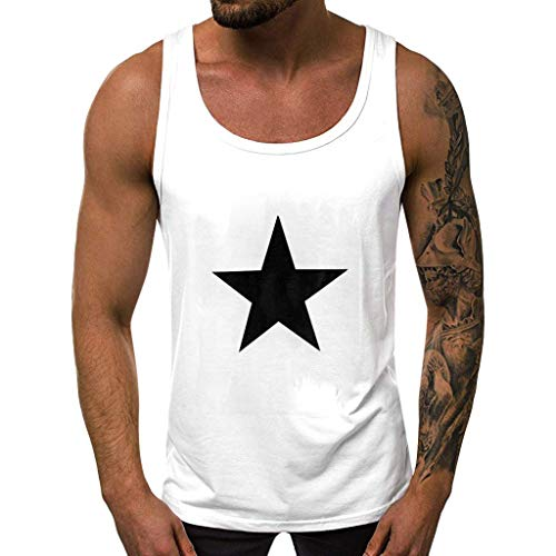 Men's Quick Dry Star Sleeveless Sport Tank Top for Bodybuilding Gym Athletic Training Vest Blouses [Black,S/M/L/XL/XXL]