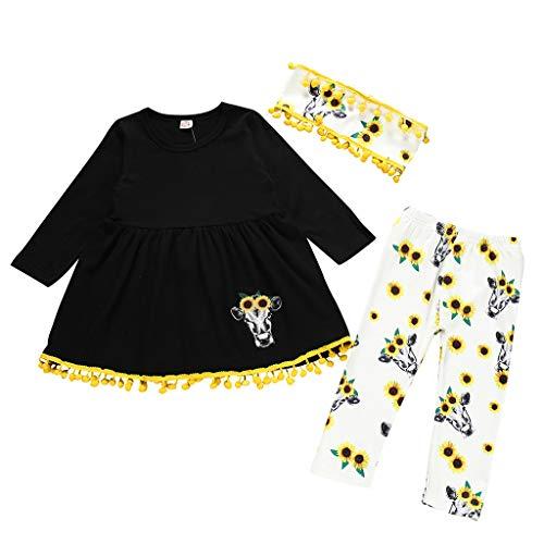 Comie Baby Kleidung Sets, Kleinkind Kind Baby Mädchen Quaste Cartoon Kleid Sonnenblume Blume Hosenanzug, Süß Langärmliges Hemd (Sonnenblume Kostüm Für Kleinkind)