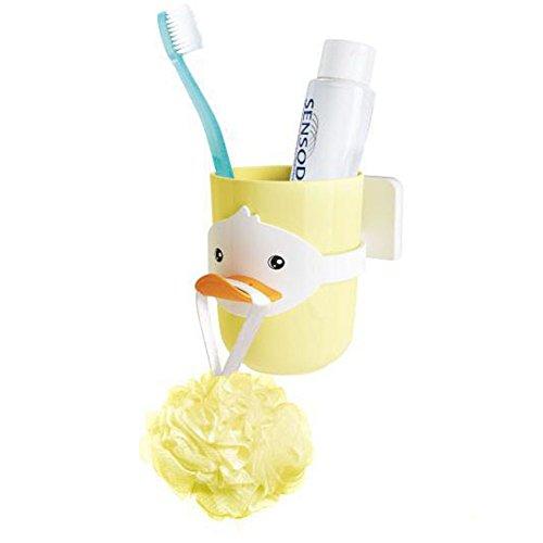 JJPUNK Kinder Cartoon Tiere Zahnbürstenhalter Bad Badezimmer Becher Glas Badekugel Halter Halterung Toilette WC Zahnbürste Zahncreme Zahnpasta Zahnputzbecher (Gelb)
