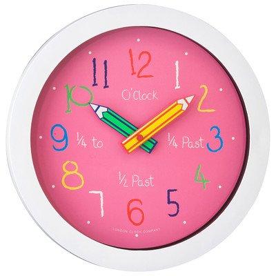 London Clock Children's Nursery Time Teaching Clock pink
