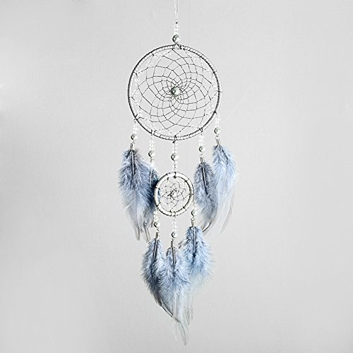 Yunt Traumfänger Handgefertigt Feder Taubengrau Dream Catcher für Haus Wandbehang Dekoration Ornament Home Decor (Home Dream Decor Catcher)