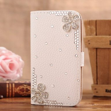 c-guess iPhone 6Plus Jewelry Bling Diamond Gem Leather Smart Case cover with Magnetic Flip Horizontals & card Holder–bianco 11fiori coppia di fiori con strass Crystal pair of Flower Crystal pair of Flower