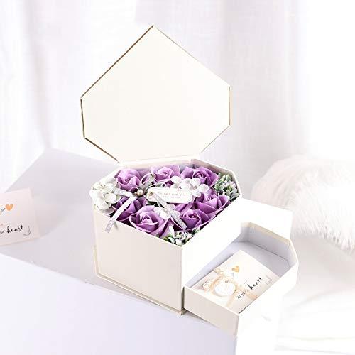 Yuhualiyi123 Fach-Herz geformte Feriengeschenk Kasten Seifen Blumen kreative zusammenpassende Karte 1 Schachtel -