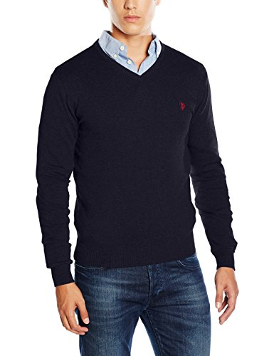 U.S.POLO ASSN. Institutional V Knit, Maglia Uomo, Navy, L