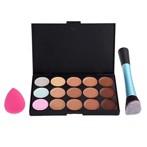 Fulltime®Haute Qualité 15 Couleur Concealer + 1pc pinceau de maquillage + 1pc Éponge Maquillage Contour
