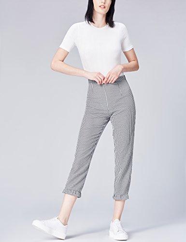 FIND Damen Hose Lace Detail Gingham Schwarz (Black/white Check)