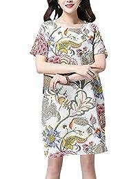 796b9c3171 Vestido Floral De Mujer Manga para Vestido Corta De Mode De Marca Lino De  Cuello Redondo Vestidos Vintage De Verano…