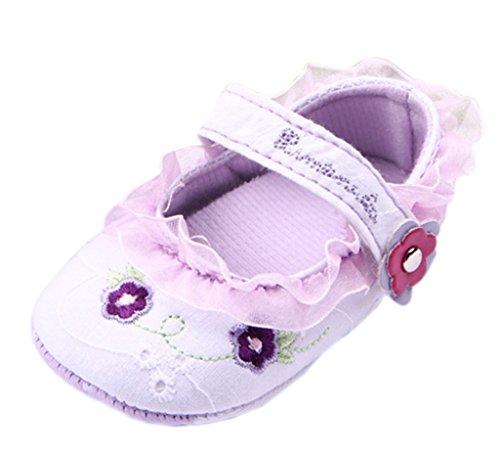 Bigood Chaussure Bébé Princesse Fille Dentelle Antidérapant Premier Pas Fleur