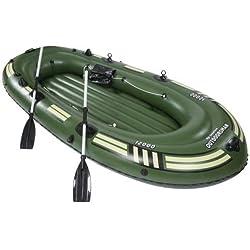 Szfmmy® Heavy Duty 300kg gonflable Canot de radeau Pêche Lot de 4personnes Pagaie de canoë avec Sports aquatiques (265cm x 130cm x 46cm)