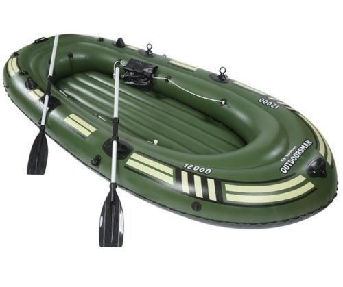SZFMMY ®Heavy duty 300kg Inflatable Raft Boat Dinghy fishing Set 4 Person Canoe With Paddle Water Sports( 265cm x 130cm x 46cm )