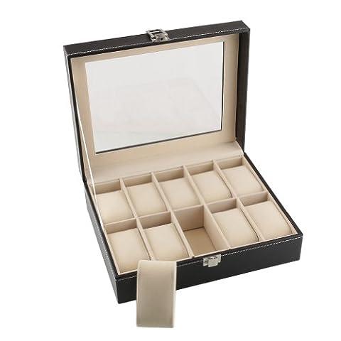 Amzdeal® 10 Grids Watch Display Box Case Watch Jewellery Storage Box Faux Leather(Black)