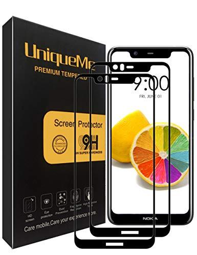 UniqueMe [2 Pezzi Nokia 5.1 Plus/Nokia X5 2018 Pellicola Protettiva, [Copertura Completa] Proteggi Schermo in Vetro temperato con Sostituzione a Vita - Nero