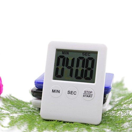 sunnymi Küchenuhr Küchentimer mit großem LCD Display Große Ziffern Mode Mini Elektronischer Timer/Digitaler Erinnerungsalarm/LCD Kochen Uhr Küche Großer Count-Down Up Loud (weiß) (3 Stück Mini-tröster)