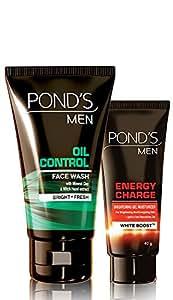 Ponds Men Oil Control Face Wash, 100g + Ponds Men Energy Charge Brightening Gel Moisturizer, 40g