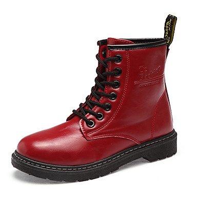 RTRY Scarpe Donna Pu Molla Rientrano La Comodità Di Moda Stivali Stivali Tacco Piatto Rotondo Mid-Calf Toe Boots Lace-Up Per Outdoor Casual Rosso Bianco Nero US8 / EU39 / UK6 / CN39