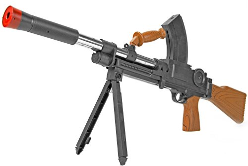 Nick and Ben Softair-Gewehr Maschinengewehr Federdruck max. 0,5 J Spielzeug-Waffe mit Zweibein im Set mit 6 mm BB Airsoft Munition